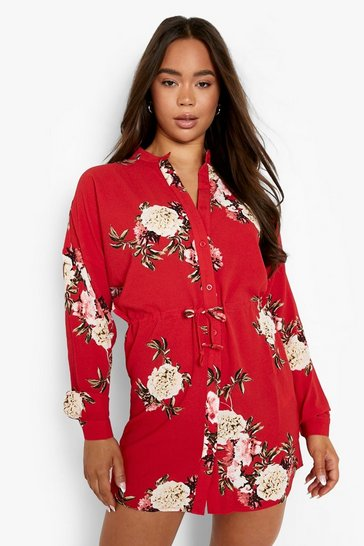 Red Floral Shirt Dress