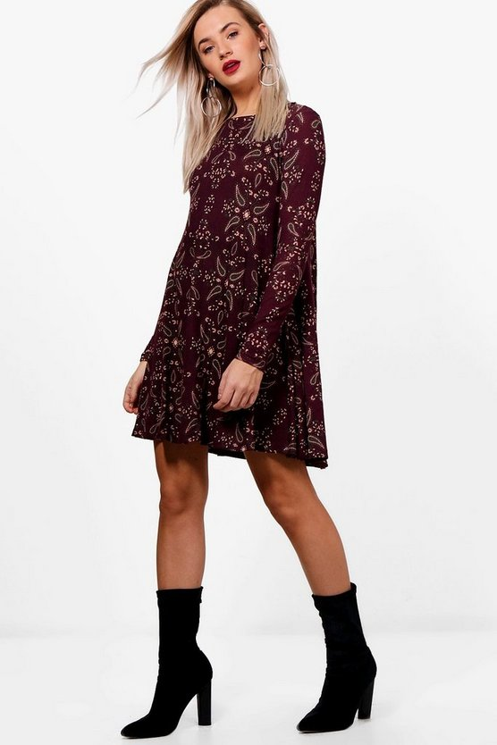 Anya Paisley Brushed Knit Swing Dress