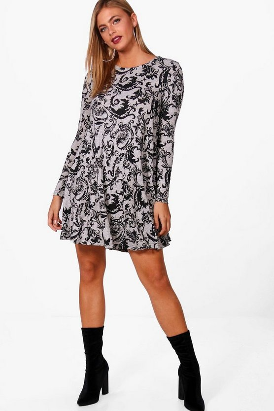 Natalie Paisley Brushed Knit Swing Dress
