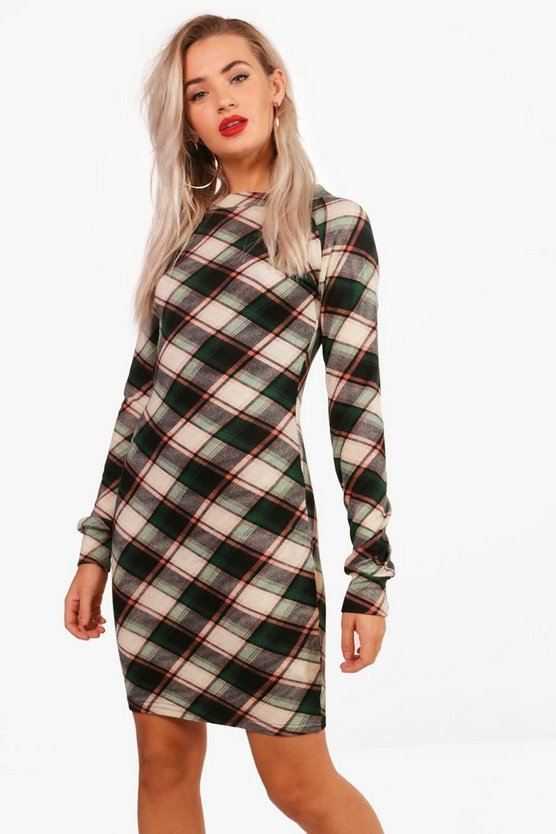 Frankie Checked Brushed Knit Bodycon Dress