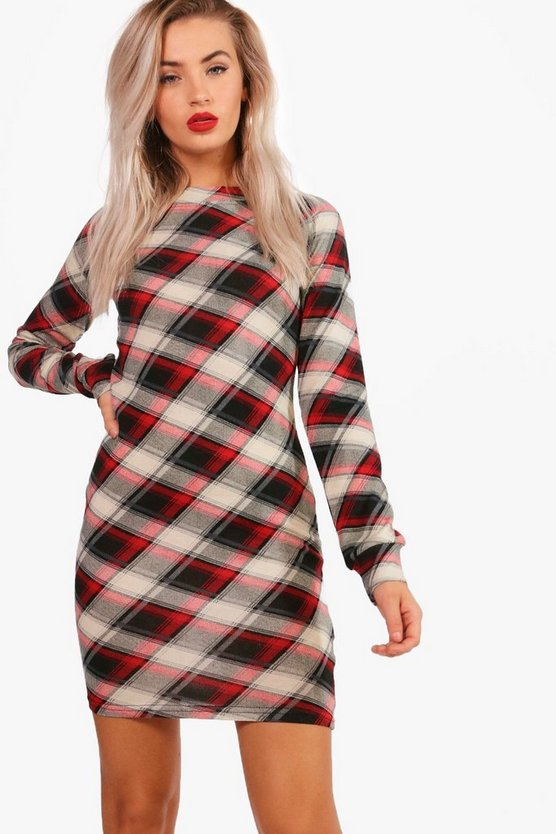 Checked Brushed Knit Bodycon Dress