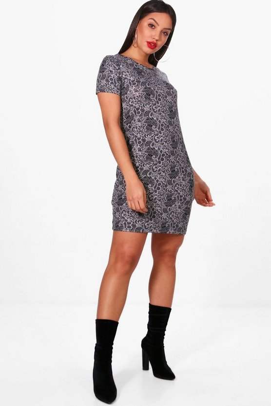Rosin Paisely Print Brushed Kit Shift Dress