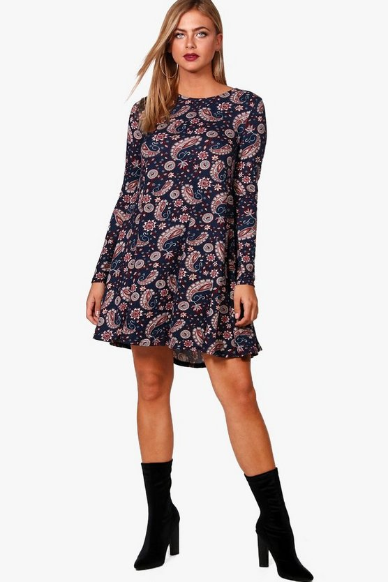 Lia Paisley Printed Brushed Knit Swing Dress