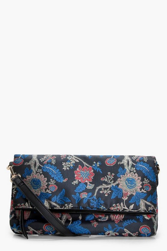 Sophie Oriental Satin Foldover Cross Body Bag