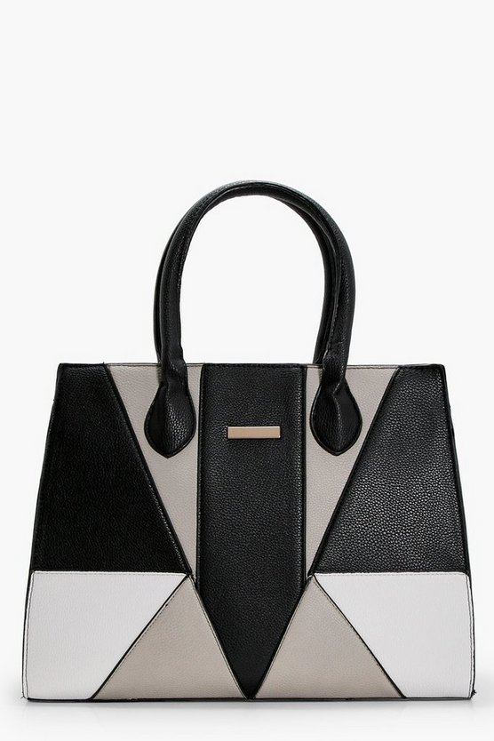 Laura Colour Block Structured Tote Bag