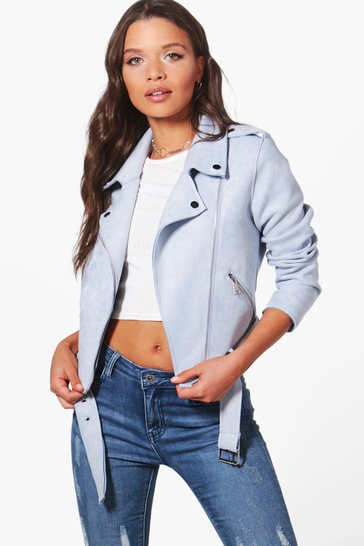 Suedette Biker Jacket - blue