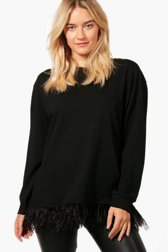 Olivia Feather Trim Sweater