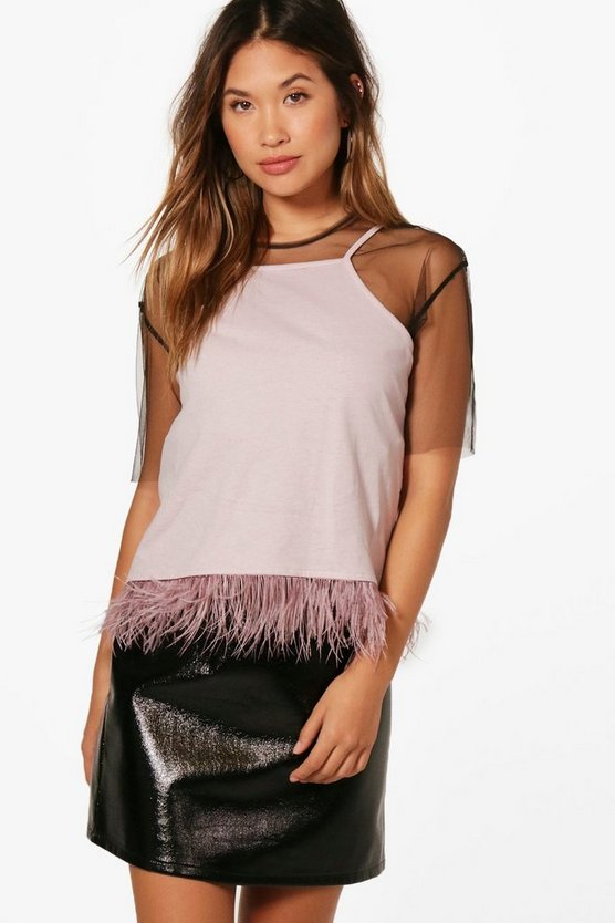 Holly Feather Trim High Neck Cami