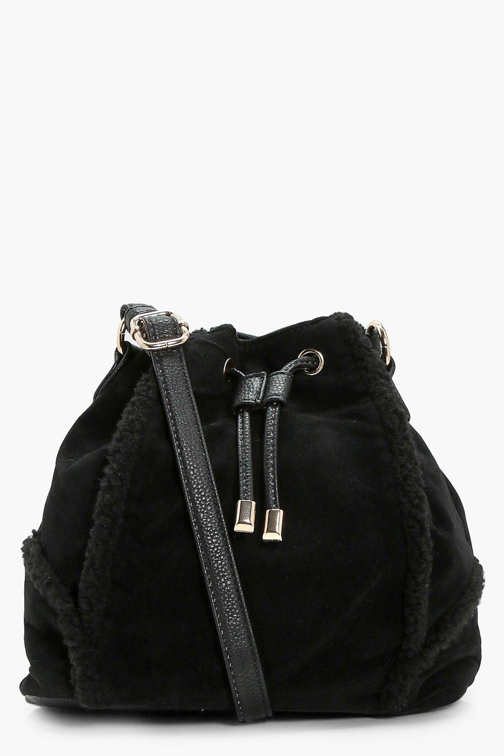 Shearling Trim Duffle Bag - black - Sophie Shearli