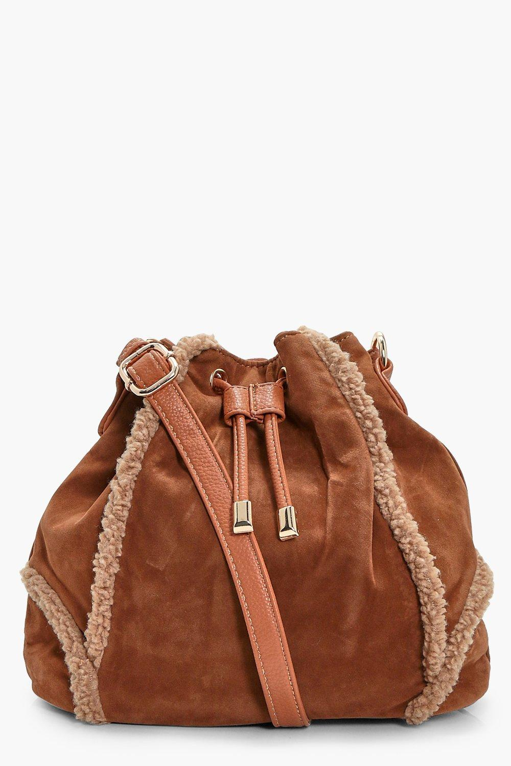 Shearling Trim Duffle Bag - tan - Sophie Shearling