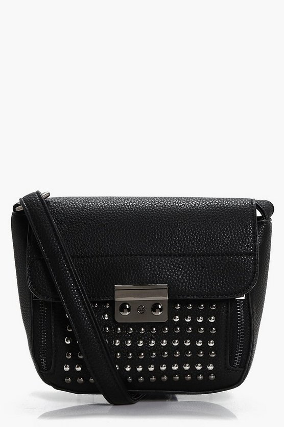 Ebony Stud & Zips Cross Body Bag
