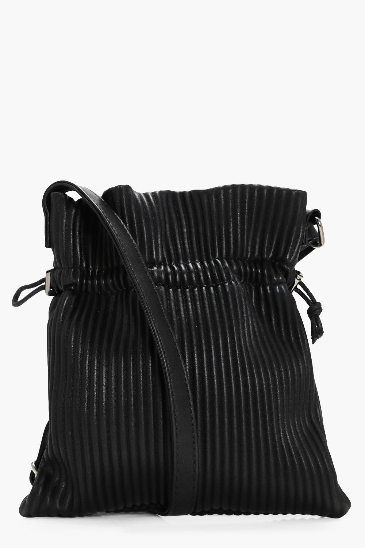 Pleated Drawstring Toggle Cross Body - black - Els