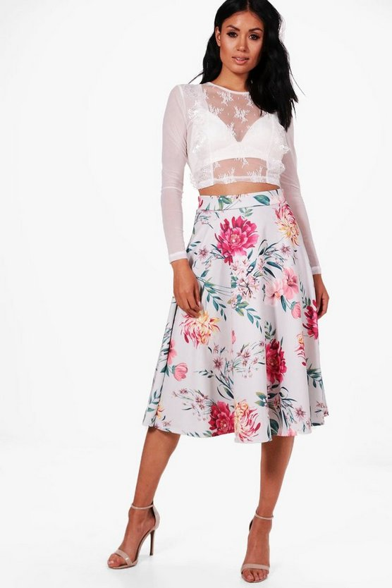 Ines Floral Box Pleat Midi Skirt