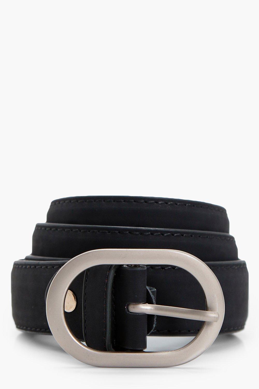 Oval Buckle Boyfriend Belt - black - Kerry Oval Bu