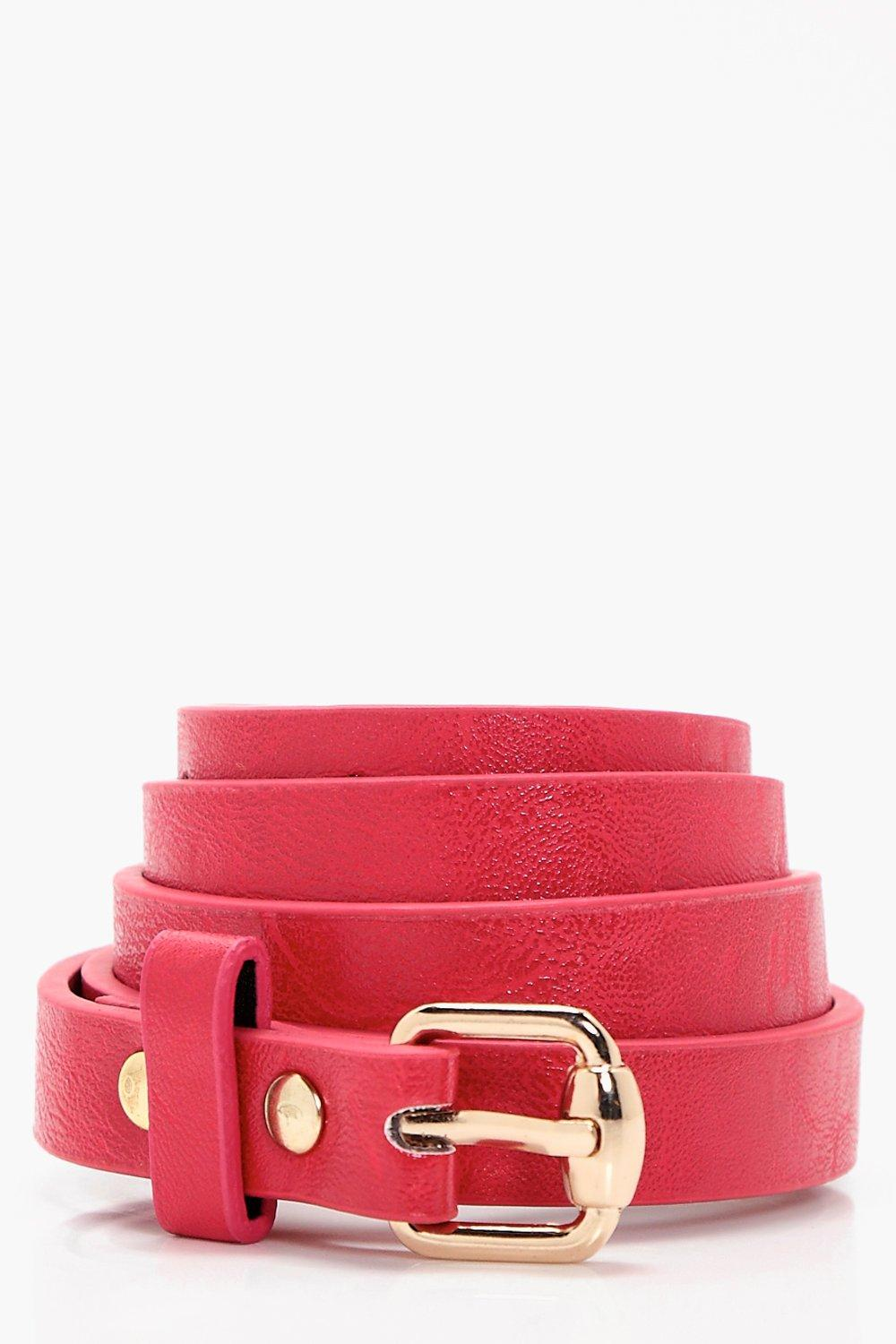 Basic Skinny Belt - red - Laura Basic Skinny Belt