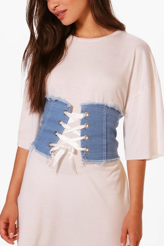 Lace Up Denim Corset Belt