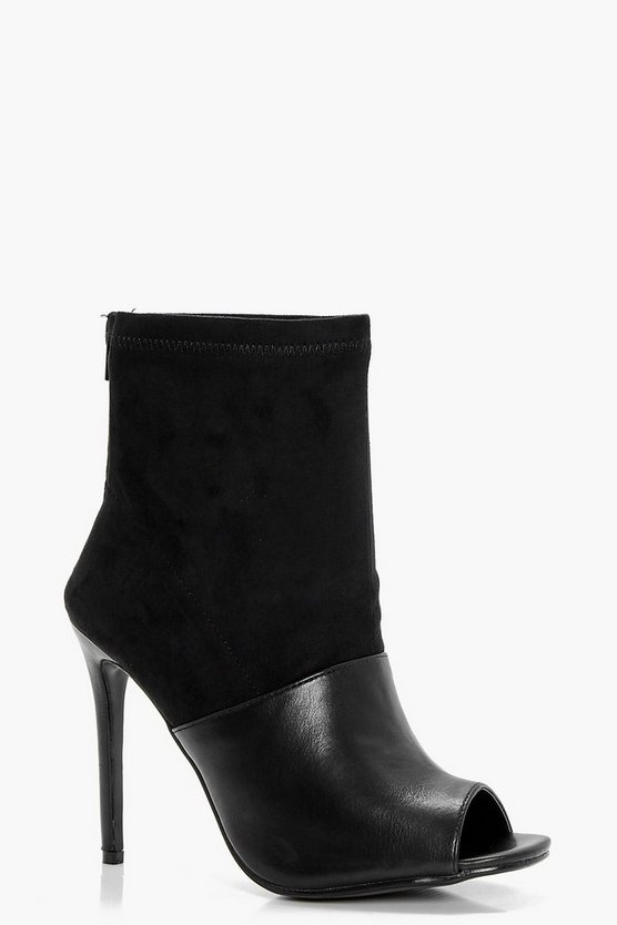 Chrissie Peeptoe Mix Material Shoe Boot