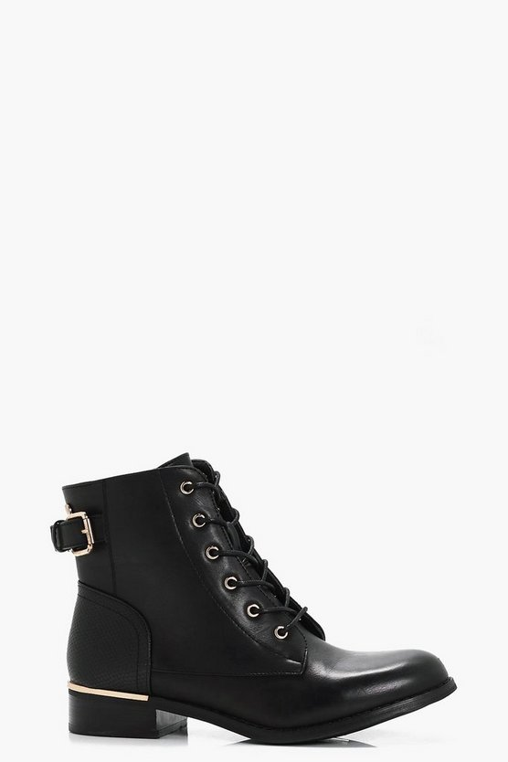Lacey Lace Up Metallic Detail Boots