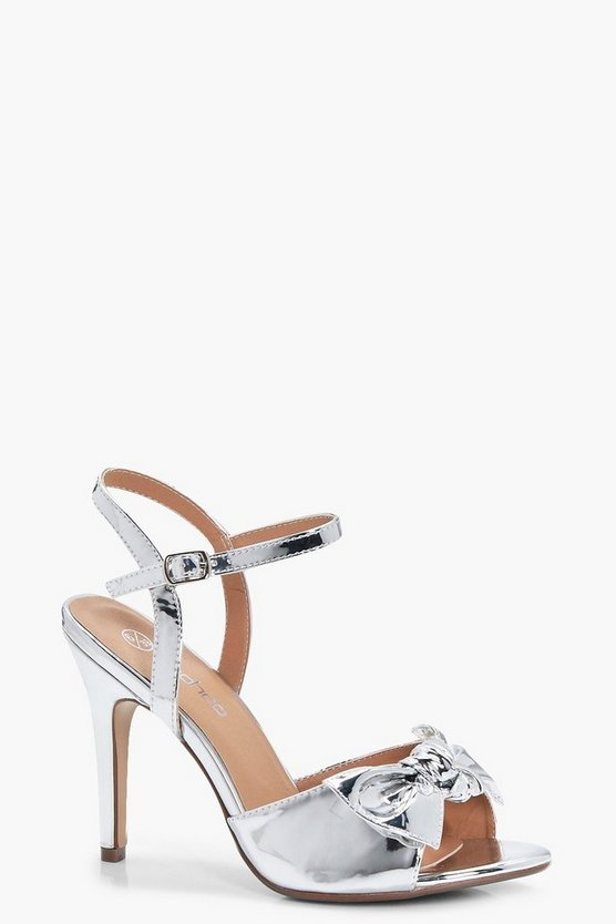 Laura Wide Fit Metallic Bow Trim Mid Heels