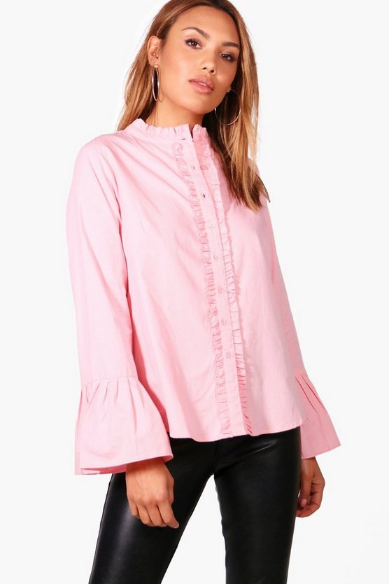 Zoe Fluted Sleeve Ruffle Collar Shirt