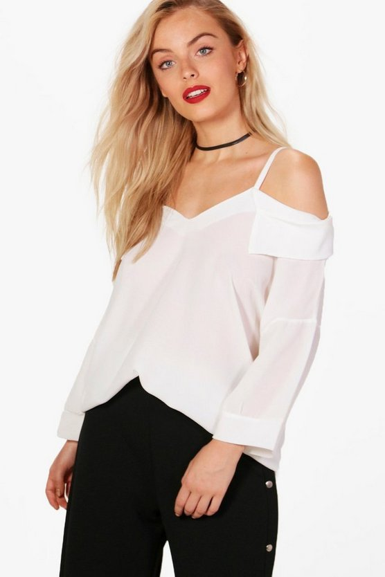 Annie Cold Shoulder Collar Blouse
