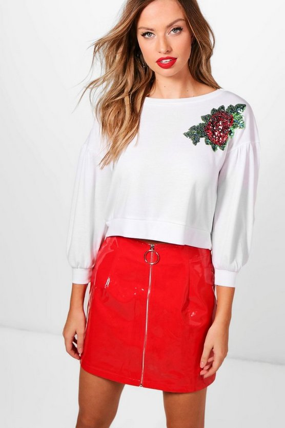 Mia Ruched Embellished Sweatshirt