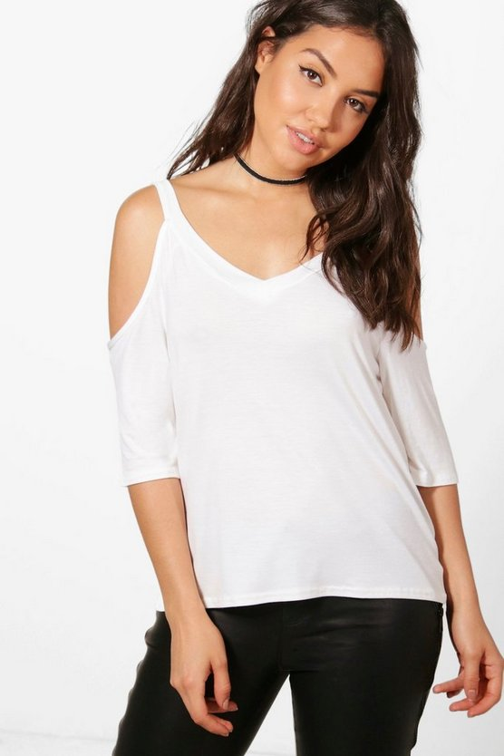 Erin Basic Cold Shoulder T-Shirt