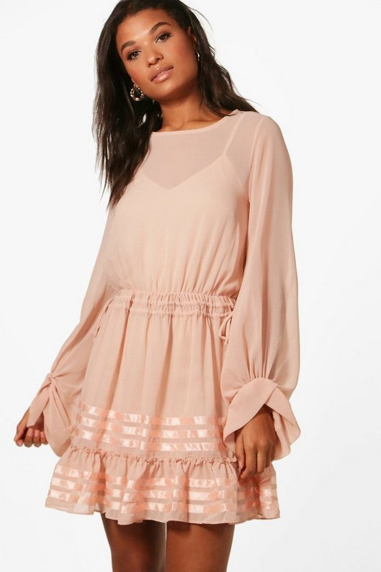 Evelyn Chiffon Blouson Skater Dress