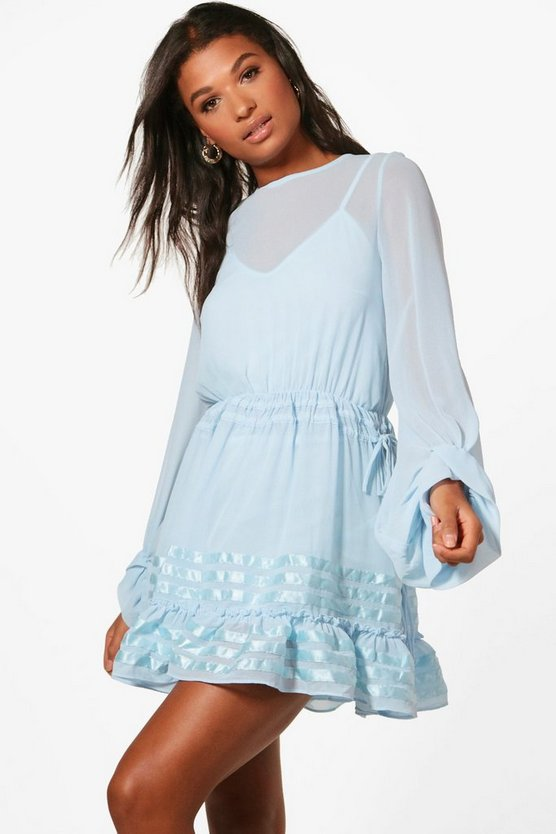 Chiffon Blouson Skater Dress