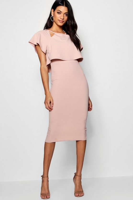 Naomi Formal Frill Double Layer Midi Dress