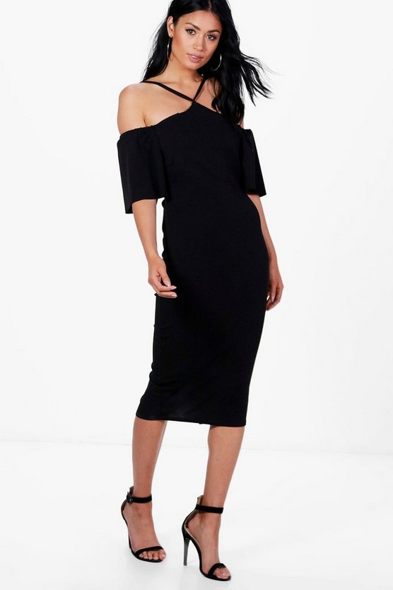 Nina Strappy Cold Shoulder Midi Dress
