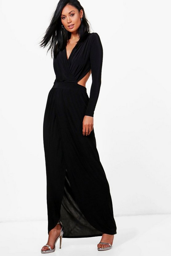 Rosina Wrap Open Back Maxi Dress