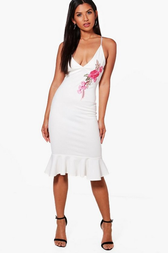 Kelsey Applique Detail Frill Hem Midi Dress