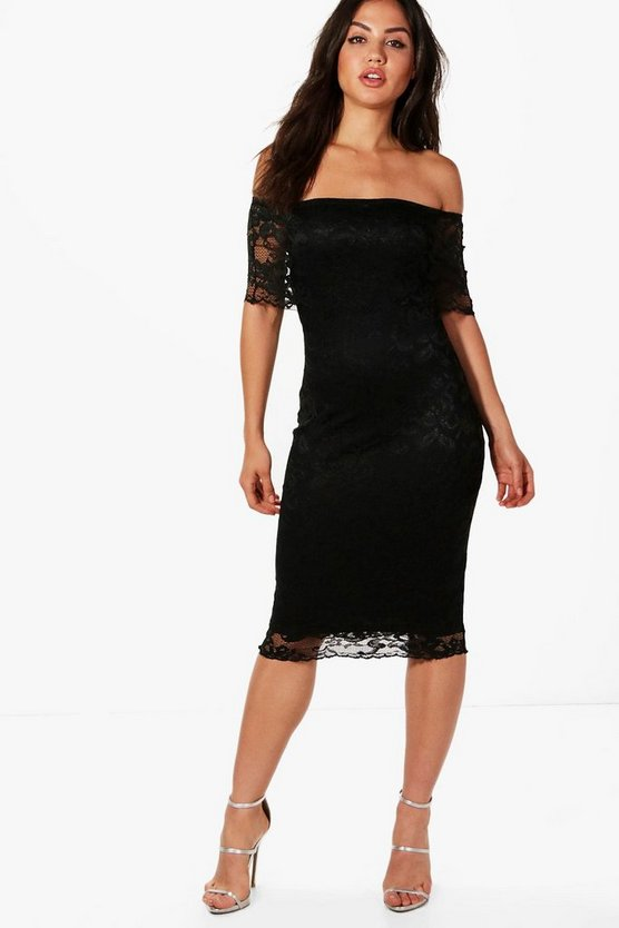 Beatrice Lace Off Shoulder Midi Dress