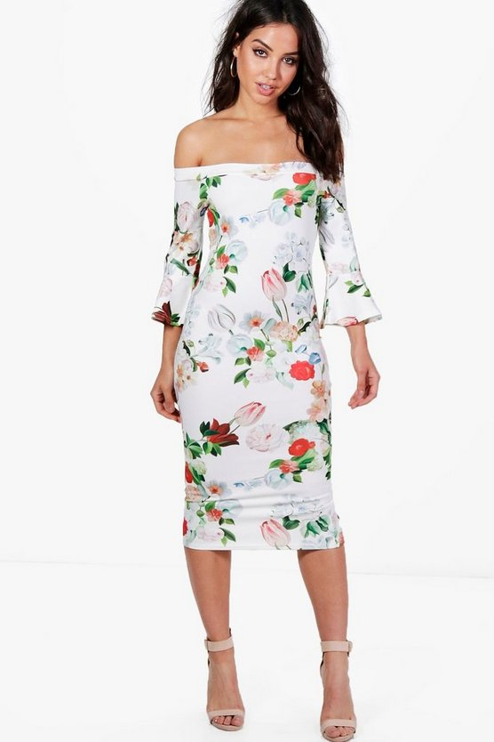 Gemma Floral Frill Sleeve Midi Dress