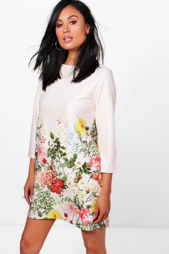 Nora Floral BorderPrint Shift Dress