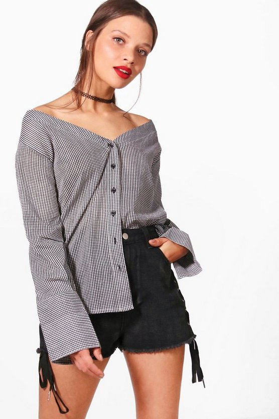 Ellie Woven Gingham Off The Shoulder Top