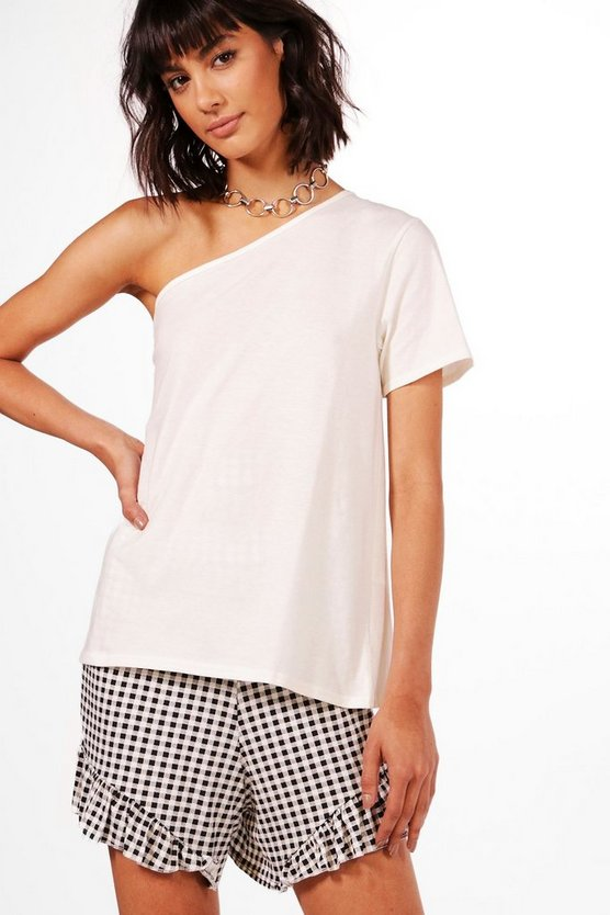 Olivia Basic One Shoulder Oversized T-Shirt