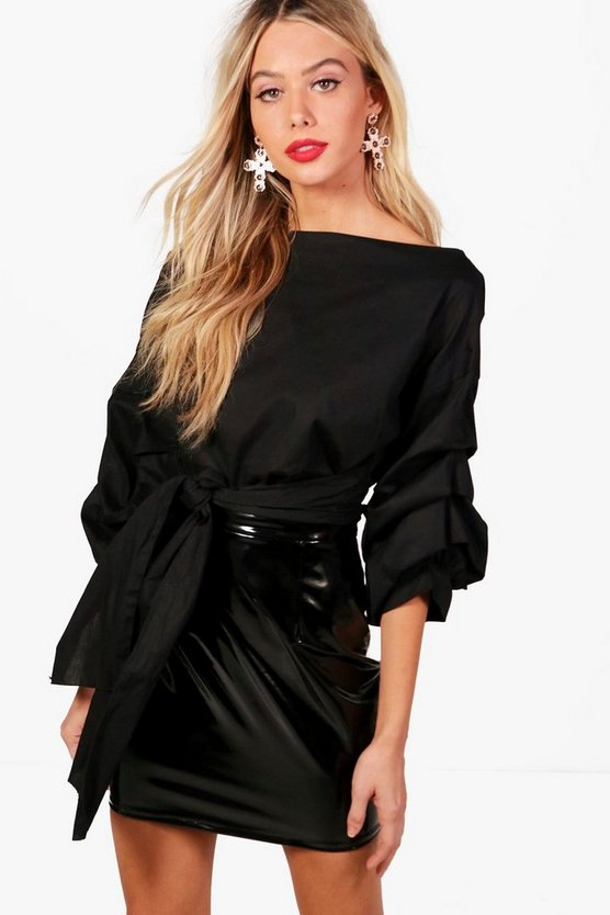Emily Tie Front Ruched Sleeve Top