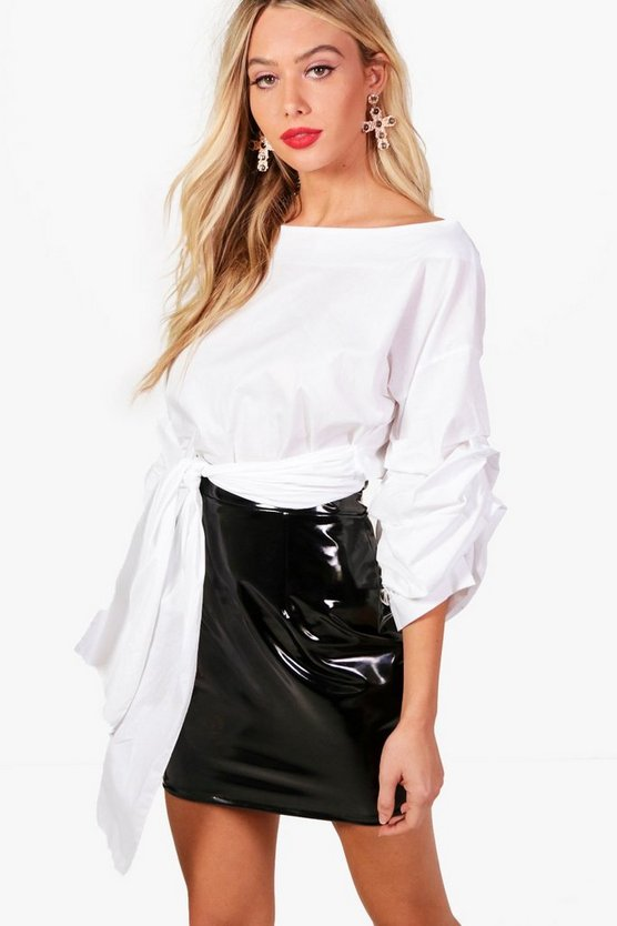 Tie Front Ruched Sleeve Top