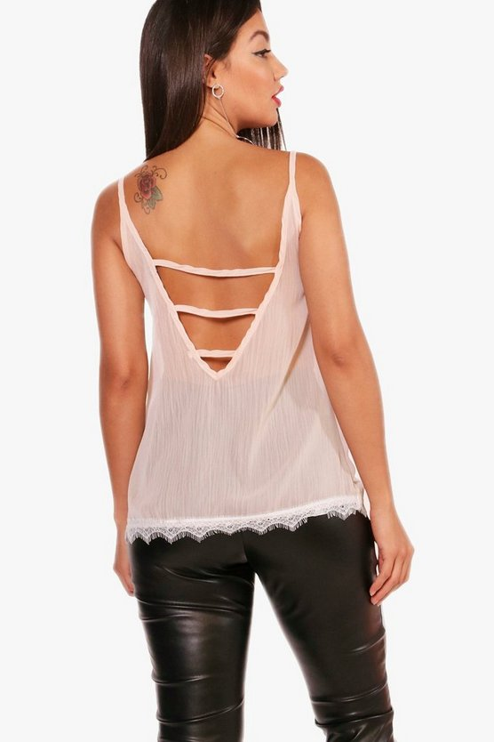Lilly Woven Lace Trim Cage Back Cami