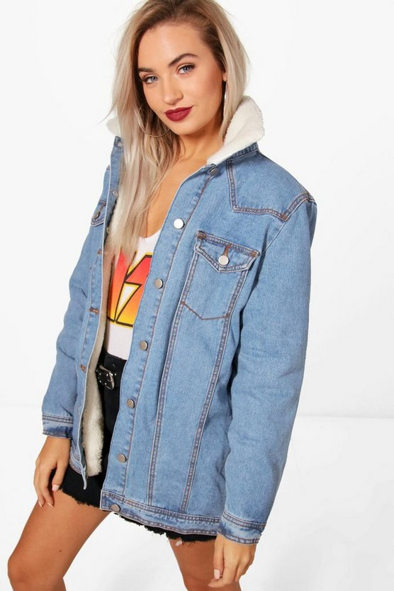 Ruby Long Lined Borg Collar Denim Jacket
