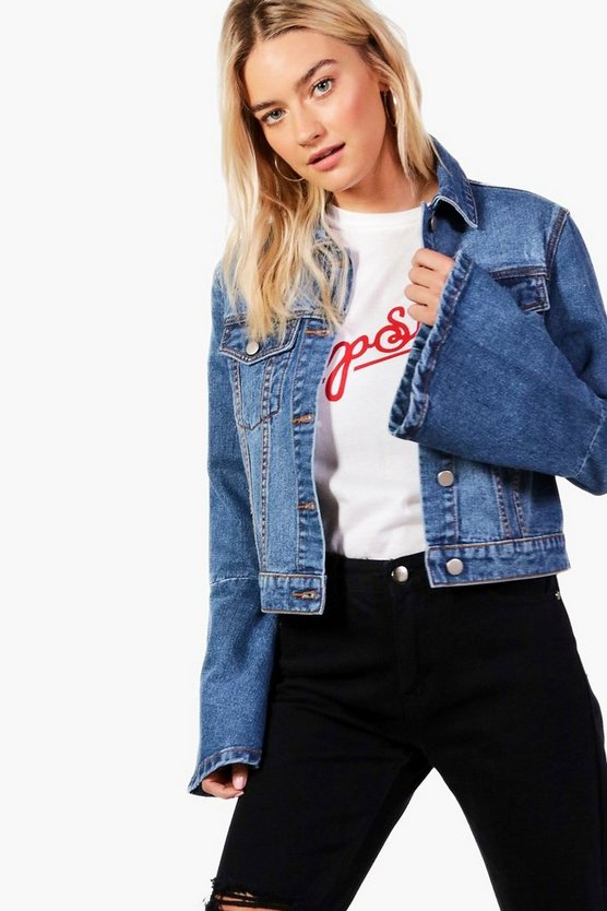 Flo Flute Sleeve Cropped Slim Fit Denim Jacket