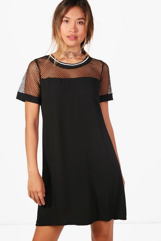 Beth Rib Trim Fishnet Shift Dress