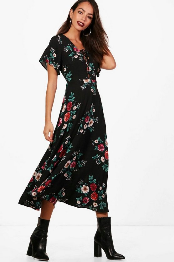 Blair Folk Floral Lace Up Midi Dress