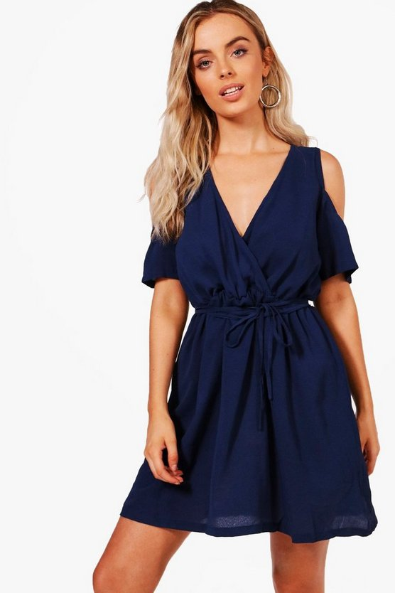 Isla Cold Shoulder Wrap Front Skater Dress