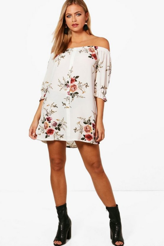 Julliette Floral Off Shoulder Shift Dress