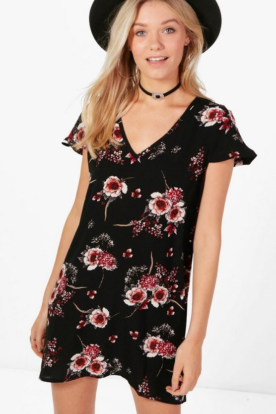 Cara V Neck Floral Shift Dress