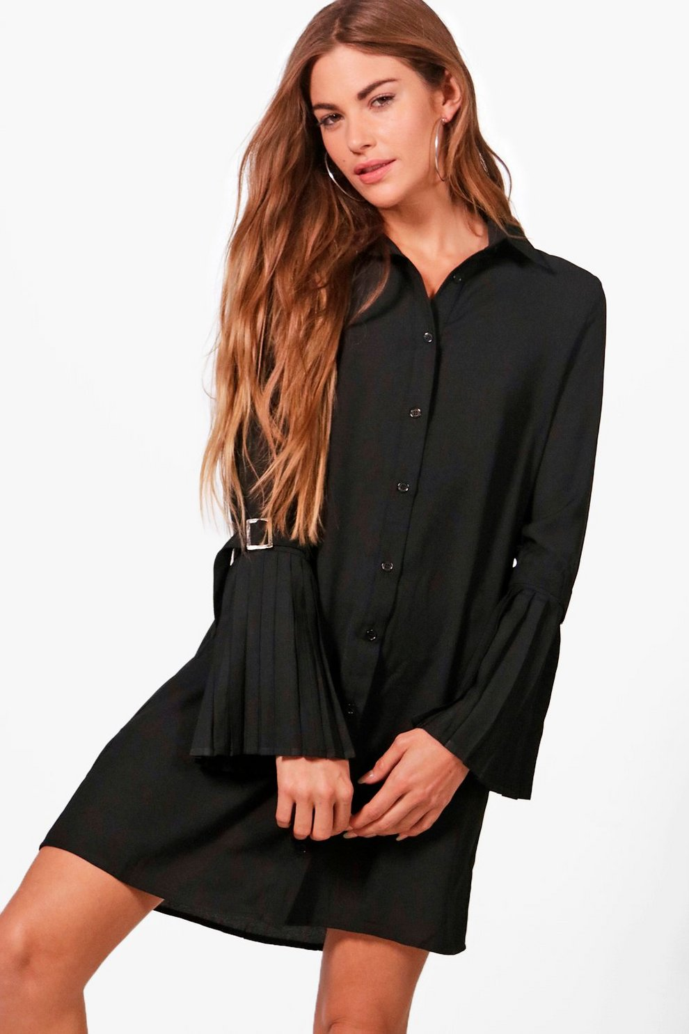 Boohoo Utility Pleated Sleeve Shirt Dress 2018 Newest Cheap Online rqyZs