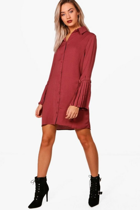 Trisha Utility Pleated Sleeve Shirt Dress